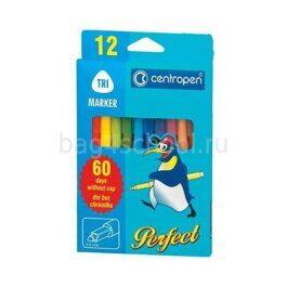 ФЛОМАСТЕРЫ CENTROPEN PERFECT – DRY SAFE 12 цв.